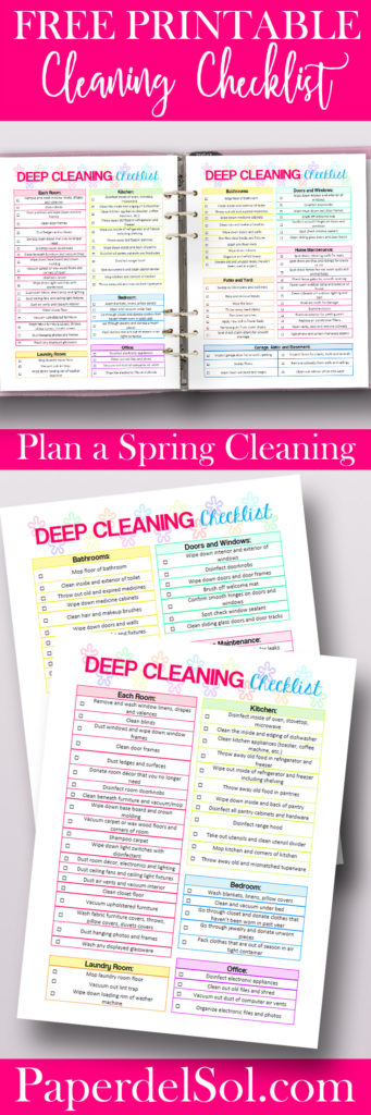 photo relating to Printable House Cleaning Checklist Pdf known as Cost-free Printable Room Cleansing List via Paper del Sol