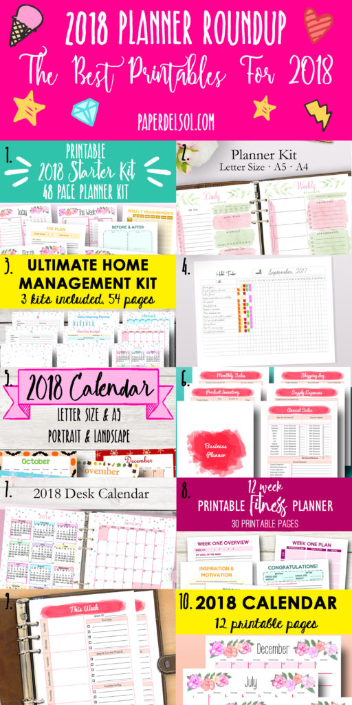 the best planners for 2018 printable planner roundup